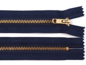 Kovový mosazný zip nedělitelný 16 cm tmavě modrý