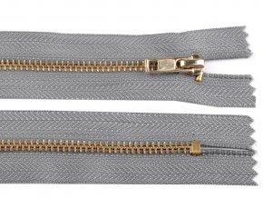 Kovový mosazný zip nedělitelný 14 cm šedý