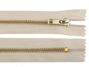 Kovový mosazný zip nedělitelný 14 cm světle béžový