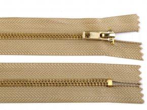 Kovový mosazný zip nedělitelný 14 cm béžový