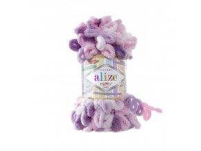 příze Puffy color 6077 odstíny růžové a fialové
