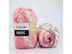 příze Nordic 655 růžová, šedá, smetanová