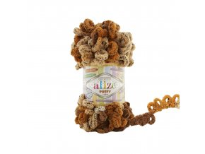 příze Puffy color 6080 žíhaná variace kapučíno