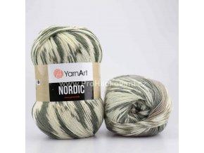 příze Nordic 659 khaki, béžová a krémová