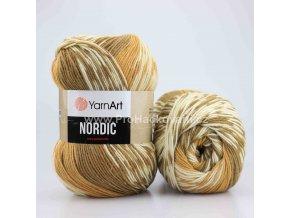 příze Nordic 653 karamelová, hnědá a krémová
