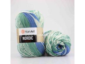 příze Nordic 654 zelená, modrá a krémová