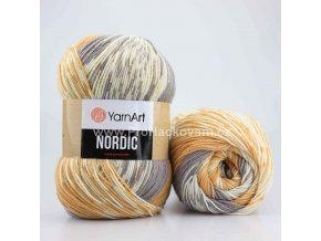 příze Nordic 657 karamelová, šedá a krémová
