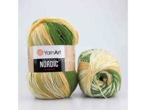 příze Nordic 651 zelená, karamelová a krémová