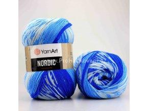 příze Nordic 652 variace modré a bílé