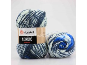 příze Nordic 662 antracit, modrá a krémová