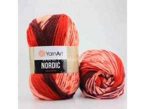 příze Nordic 664 červená, růžová a vínová