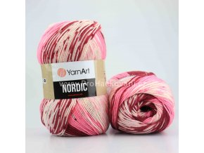 příze Nordic 660 vínová, růžová a krémová