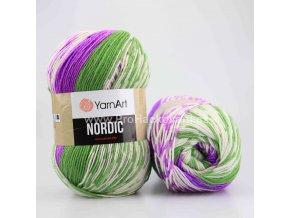 příze Nordic 666 zelená, fialová a krémová