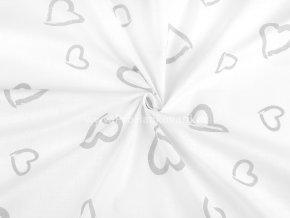 Bavlněná látka šedá srdce na bílé