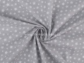 Bavlněná látka šedá s bílými hvězdičkami