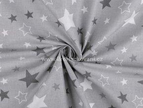 Bavlněná látka mix hvězd na šedé