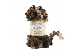 příze Puffy color 6083 černá, hnědá, šedobéžová s žíháním