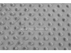 Látka Minky s 3D puntíky šedá