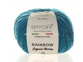 příze Rainbow Organic Merino 168 tyrkysová
