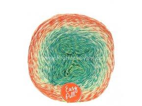 příze Re-Public 017 zelenkavá, lesní zelená, světle olivová, oranžová