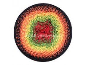příze Flowers 267 červená, zelená, žlutá, oranžová, černá