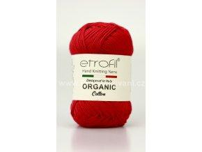 příze Organic Cotton EB005 jahodově červená