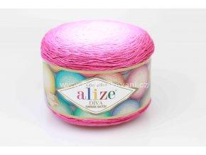 příze Diva Ombre batik 7367 tmavě růžová