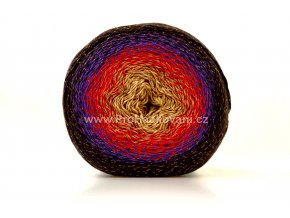 Příze Flowers Moonlight 3265 hnědá, červená, fialová, tmavě hnědá