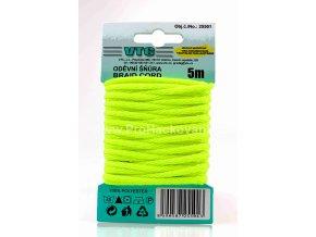 Oděvní šňůra 5 m na kartě - 02 Neon žlutá