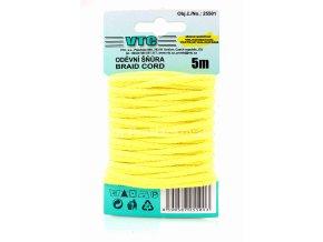 Oděvní šňůra 5 m na kartě - 03 světle žlutá