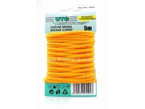 Oděvní šňůra 5 m na kartě - 06 oranžová