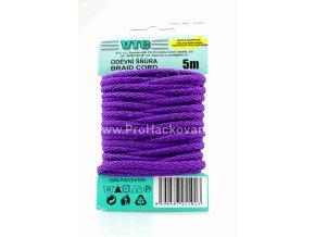 Oděvní šňůra 5 m na kartě - 20 fialová