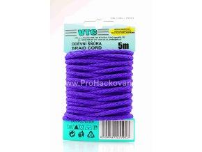 Oděvní šňůra 5 m na kartě - 22 tmavší fialová