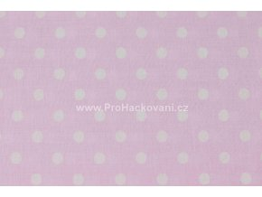 Bavlněná látka s většími puntíky Ø 8 mm světle růžová