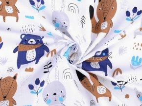 Bavlněná látka se zajíčky, medvídky, lištičkami v modré s hnědou