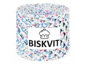 špagáty Biskvit 2520 bílé s modrými a růžovými růžičkami (Kupala)