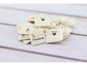 Látková cedulka Handmade with love , včelka - bílá barva natural