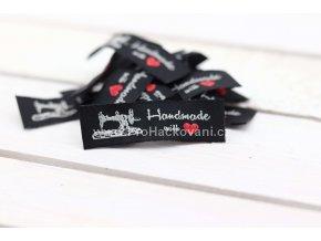 Látková cedulka Handmade černá s šicím strojem podélná