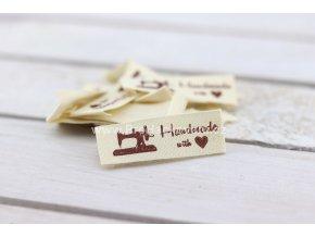 Látková cedulka Handmade s šicím strojem, bílá natural podélná