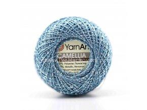 příze Camellia 423 ledově modrá se stříbrnou nitkou