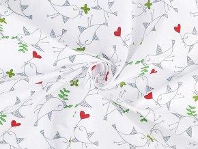 Bavlněná látka s ptáčky na bílé