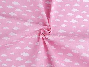 Bavlněná látka obláčky na růžové