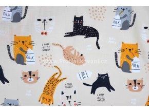 Bavlněná látka kočky na krémové