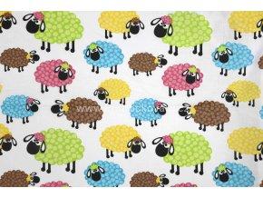 Bavlněná látka barevné ovečky