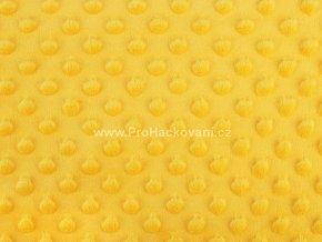 Látka Minky s 3D puntíky žlutá