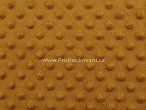 Látka Minky s 3D puntíky hořčicová