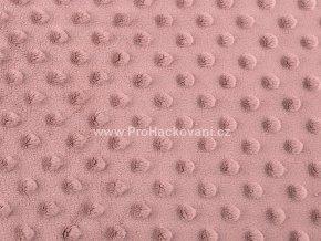 Látka Minky s 3D puntíky pudrová starorůžová