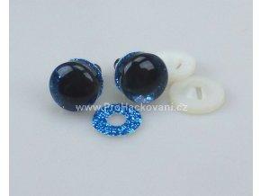 Oči bezpečnostní třpytivé modré, 18 mm