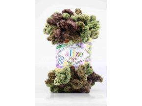 příze Puffy color 6086 khaki, olivová, středně hnědá s žíháním