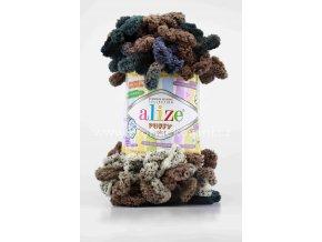 příze Puffy color 6257 hnědá, šedá, šmolkově modrá s žíháním